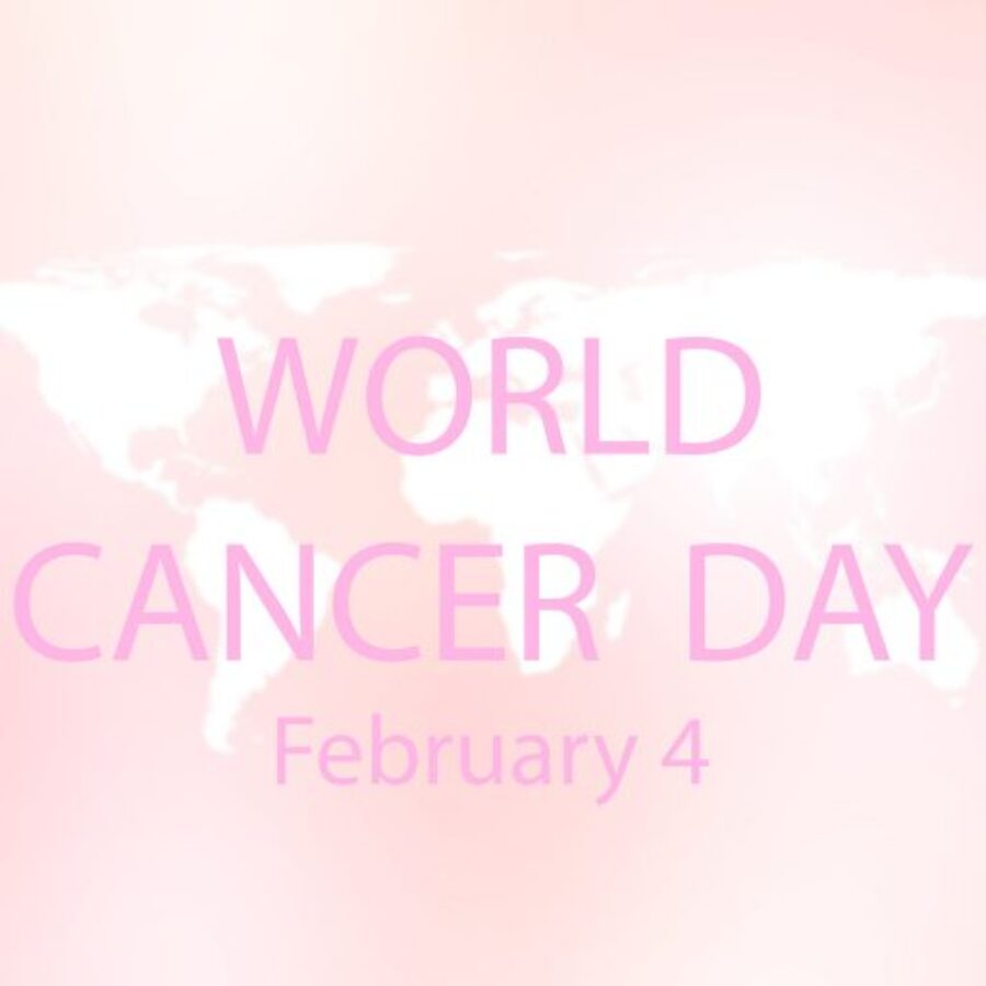 abstract beauty blurred pink gradient background with world map for world cancer day on 4 February concept